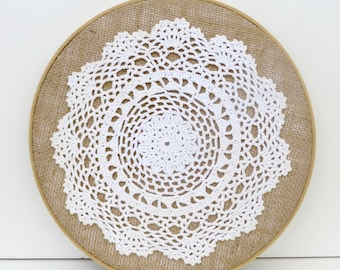embroidery hoop art with vintage doily on burlap