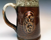 Beer Stein: Bearded Face Mug in Rich Amber Brown
