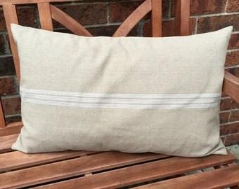 Grain Sack Lumbar Pillow Cover White Center Stripe