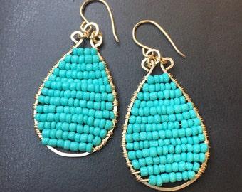 Handcrafted 14k gold fill beaded teardrop earrings in Aqua/Turquoise