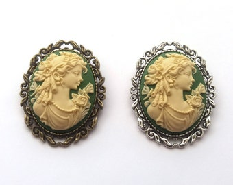 Classical Lady Green Cameo Brooch, Green and Cream, Victorian Cameo, Choose Bronze or Silver