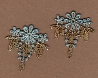 Hand Dyed Venise Lace Floral Appliques  Aged Copper Turquoise
