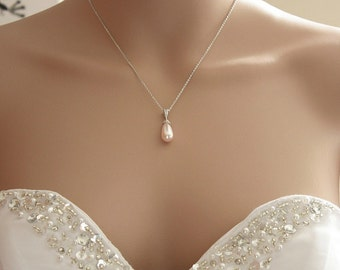 Blush Pink Pearl Bridal Necklace Swarovski Pearl Rosaline Pink Teardrop Pearl Pendant Pink Wedding Jewelry