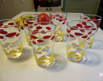 Vintage 50s Drinking Glasses. Red, White Yellow Dots, Federal Tumbler