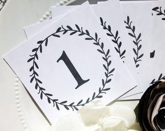PRINTED Wedding Table Numbers Laurel Wreath - Set of 15 - Style TN7 - LAUREL COLLECTION