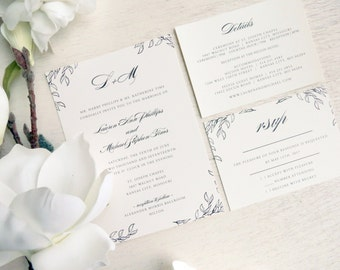 Wedding Invitation Suite - Style INV09 - Botanical COLLECTION | Invitation | RSVP  | Details Printable