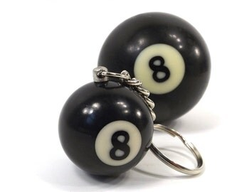 vintage 90s 8 ball keychain DEADSTOCK eight black white pool game good bad luck magic mystery modern retro kitsch auto accessories keys NOS