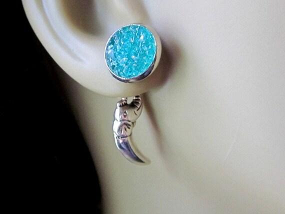 Elephant Earrings Silver Elephant Stud Earrings Reverse Earrings Jackets Sky Blue Studs African Elephant Jewelry Silver Tusk Earrings