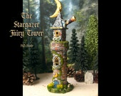 Stargazer Fairy Tower - Woodland Fantasy Tower with Telescope, Stars and Crescent Moon - HO Scale Handcrafted Tower on Small Landscaped Base