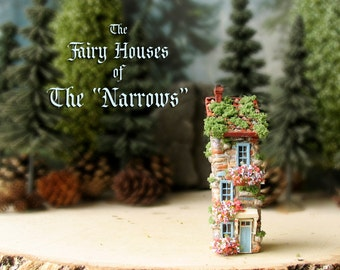 """The Fairy Houses of The """"Narrows"""" - Enchanted N Scale Stone House with Flower Boxes, Mossy Tile Roof and Colorful Doors - Terrarium Decor"""
