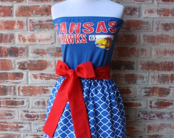 University of Kansas KU Jayhawks Game Day Strapless Dress - Size Small