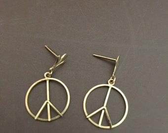 Vintage Classic Peace Sign Pierced Earrings