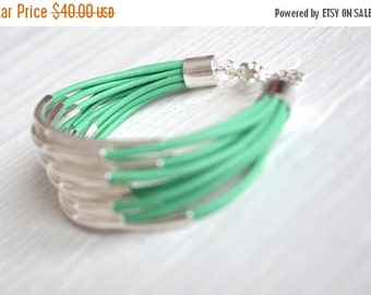 50% OFF SALE : Mint Leather Cuff Bracelet with Silver Tube Beads - Multi Strand Bangle Women's Bracelet  ... by  B A L O O S