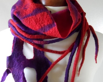 Felted Wool Scarf - Red and Purple - Tails and Lace