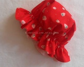 Girl's Organic Strawberry Shortcake Hat for Children, Red Strawberry Print Reversing to Solid Pale Pink, Halloween Costume Baby Toddler Kid
