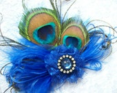 Small and Dainty Royal Cobalt Blue Peacock Feather & Crystal Vintage Mini Fascinator Hair Clip - Custom Made