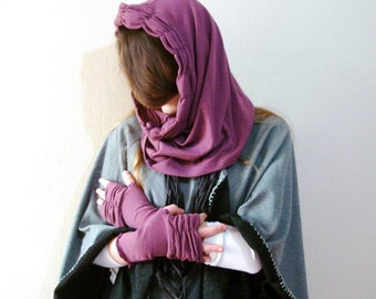 Snood scarf Hood Purple hooded cowl and fingerless gloves recycled upcycled clothing Fingerless Gloves Cowl Scarf