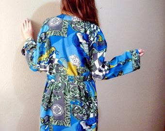Vintage Kimono Robe Blue Robe jacket Size Large Long Spring Jacket Cardigan