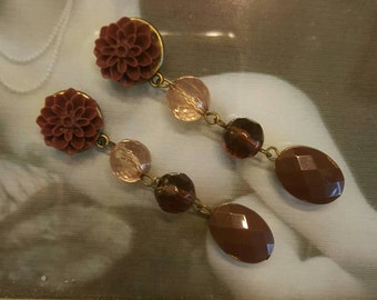 Wedding Prom Shabby Neutral Brown Beige Dangle Plugs Earrings 2g, 0g, 00g, 7/16ths