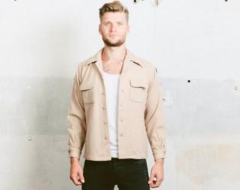 1940s Wool Jacket . Loop collar Flap Pockets Wool Jacket Beige 40s 30s Overshirt McGregor Made in USA .  size Medium