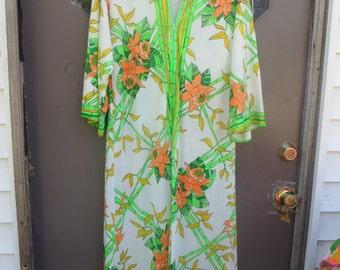 1970s mod   nylon maxi lounger  zipup  robe by Loungees  sz 12