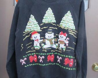vintage 80s ugly Christmas Christmas bears sweatshirt   sz large