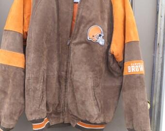 vintage Nfl Cleveland Browns  Genuine suede leather jacket  sz med