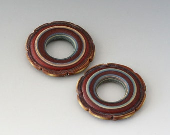 Rustic Ruffle Discs - (2) Handmade Lampwork Beads - Red Brown