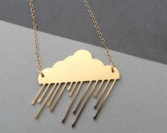 rain cloud necklace, cloud necklace, thunderstorm, winter jewelry, rain cloud, gold cloud