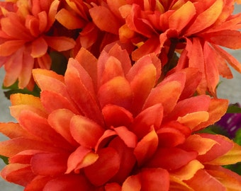 Flower Pens Set of 10 Vivid Bright Orange Mums Flower Pens for Party Bridal Shower Wedding Favors Summer Autumn Fall
