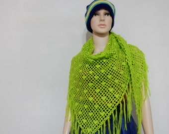 Crochet shawl in Bright Green