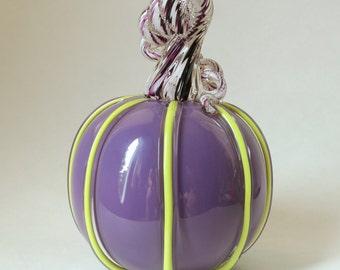 Hand Blown Glass Purple and Bright Yellow Cane Work with Purple and White Stem Pumpkin Halloween Pumpkin Autumn Decor
