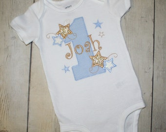 Personalized Boys Blue and Gold Twinkle Twinkle Little Star Birthday Shirt, Cake smash shirt, star birthday shirt