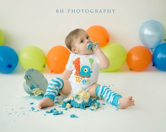Chevron Monster Birthday Shirt OR bodysuit and LEG WARMERS-Monogrammed-Your Choice of Letters or Numbers