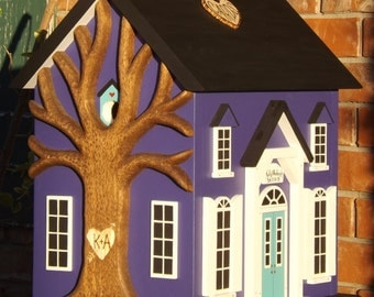 Large Wedding Card Box Birdhouse with Heart Carved Tree Purple and Teal