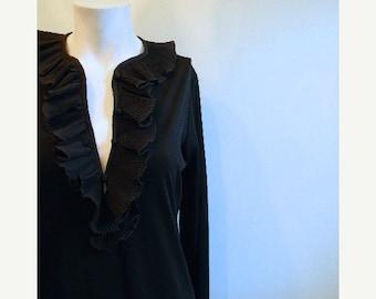 ON SALE vintage. 60s Victor Costa Black Dress // S to M