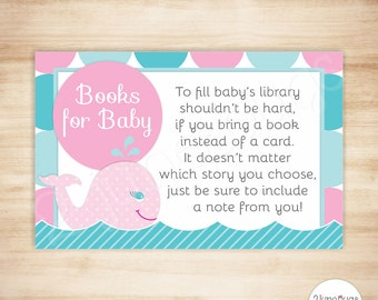 Whale Baby Shower Book Request Cards - Mod Circles Whale Baby Girl Shower - Instead of a Card - PRINTABLE - INSTANT DOWNLOAD