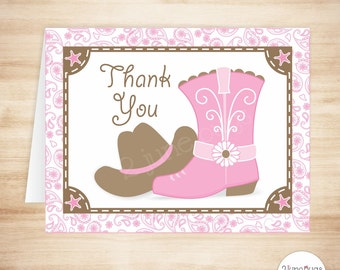 Cowgirl Thank You Card Template, Cowgirl Baby Shower Thank You Card, Cowgirl Birthday Party Thanks, Pink Brown, PRINTABLE INSTANT DOWNlOAD