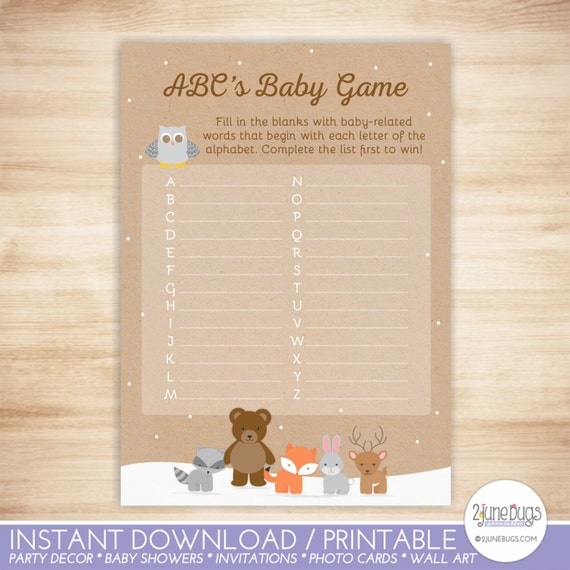 Woodland Snow Theme Baby Shower Abc Game Printable Instant