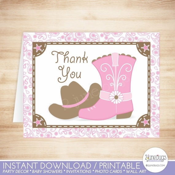Cowgirl Thank You Card Template Cowgirl Baby Shower Thank You Card
