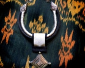 Tuareg Silver Amulet with Silk Cords