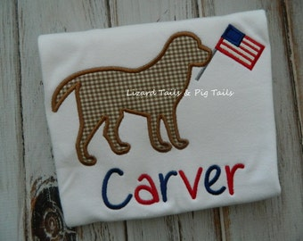 Patriotic Dog Shirt - Red White Blue Dog Applique Shirt - Boys Dog Shirt - Flag Shirt with Applique Dog