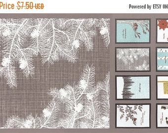 25 Off Sale WINTER'S LANE Moda modern quilt fabric Kate & Birdie Paper Co. Christmas grey taupe border 1 pillow panel 13090-14
