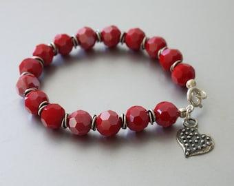 Heart Charm Bracelet, Red Glass Beads Bracelet, Charm Bracelet, Red Bracelet, Faceted Beads Bracelet, Charm Bracelet, Beaded Bracelet