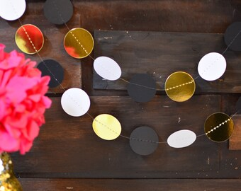 Gold, White and Black Garland Perfect for Wedding Decor, Birthday Party Decor, Baby Shower Decor, Nursery and Bridal Shower Decor, Etc!