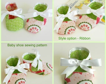 Crib shoe pattern (S127), Soft sole pattern, Baby booties pattern sewing, Baby shoe sewing pattern, Baby bow shoes