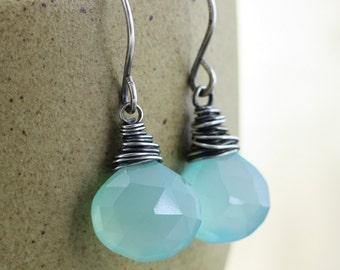 Blue Gemstone Earrings, Beach Jewelry, Aqua Blue Chalcedony Stone Earrings, Sterling Silver