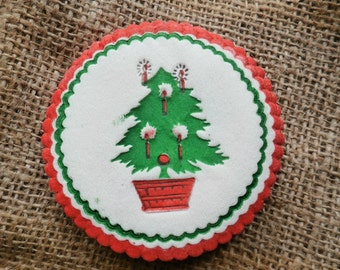 Vintage Christmas Tree Coasters, Lot of 12, Paper Style Coasters, Red and Green