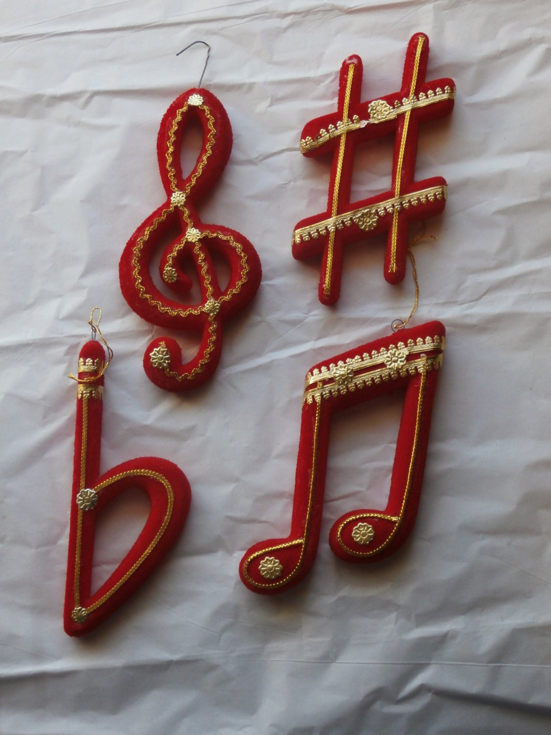 4 Vintage Flocked Christmas Ornaments Musical Notes with Gold