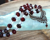 Red and White Necklace Deep Red Czech Glass w Vintage White Glass Vintage Brass Filigree Pendant Valentine's Jewelry